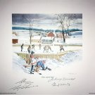 Signed Litho Bower, Cheevers, Hall, Worsley - Toronto, Chicago, Montreal, Boston