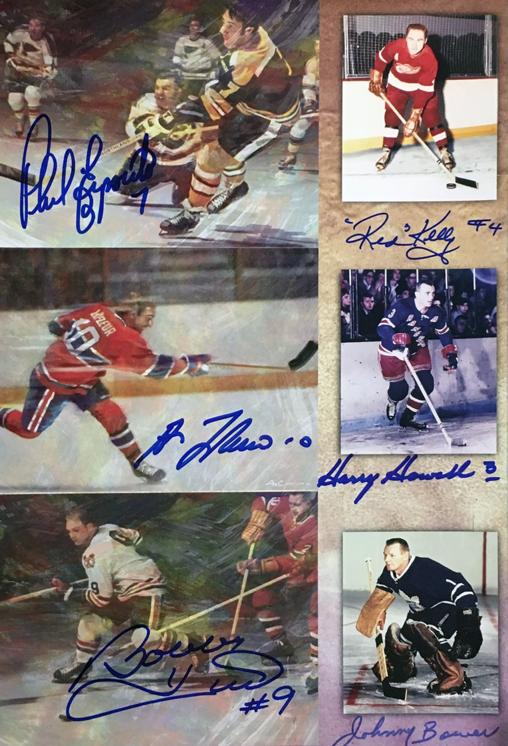 Signed Poster: Hull, Bower, Lafleur,Espoitio, Kelly, Howell - Original Six