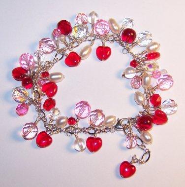 Hearts on Fire handmade beaded bracelet by Sapphire Rain Designs
