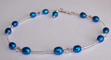 Blue Pearl Anklet handmade by Sapphire Rain Designs
