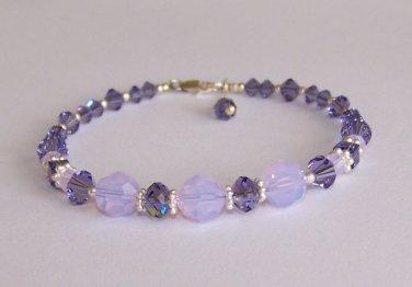 Tanzanite Crystal Bracelet handmade beaded bracelet by Sapphire Rain Designs