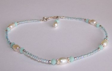 Mint Alabaster Anklet handmade beaded anklet by Sapphire Rain Designs