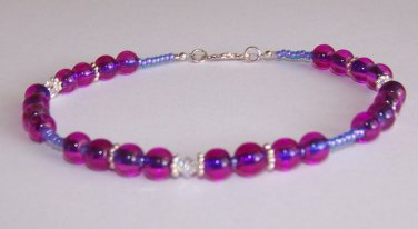 Purple Blue Tint Anklet handmade beaded anklet by Sapphire Rain Designs