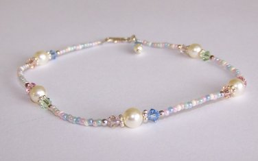 Sugar Cookie Anklet handmade beaded anklet by Sapphire Rain Designs
