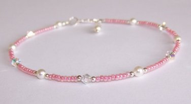 Pink Glow Anklet handmade beaded anklet by Sapphire Rain Designs