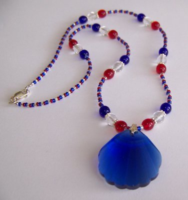 Patriotic Shell Pendant Necklace handmade beaded necklace by Sapphire Rain Designs