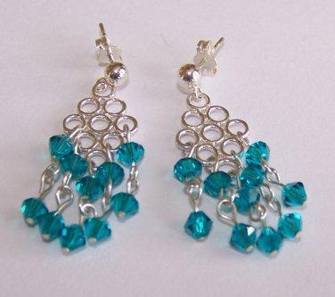 Zircon Crystal Dangle Earrings handmade beaded earrings by Sapphire Rain Designs