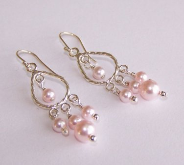 Shimmering Pink Drop Earrings handmade beaded earrings by Sapphire Rain Designs