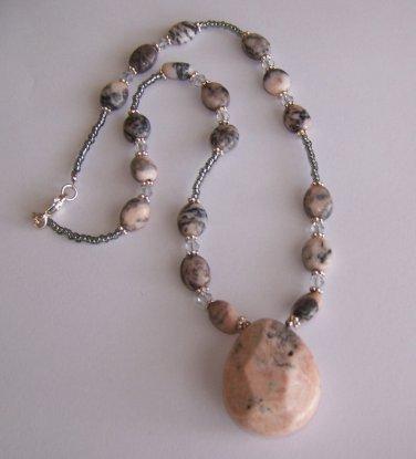 Pink Jasper Pendant Necklace handmade beaded necklace by Sapphire Rain Designs