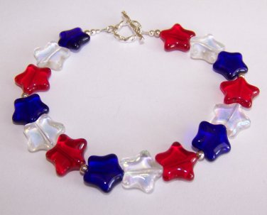 Patriotic Stars Bracelet handmade beaded bracelet by Sapphire Rain Designs