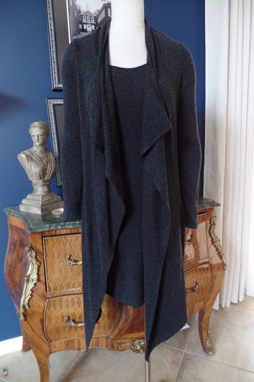JOSEPH RIBKOFF Gray Layered Long Sleeve Sweater Knit Sheath Dress US 8