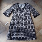 NWT ANN TAYLOR Black/White Printed Linen/Cotton Shift Dress 14