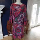 CHICO'S Floral Long Flared Sleeve Stretch Shift Dress 3