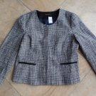 NWT ANN TAYLOR Black/White Tweed 3/4 Sleeve Jacket Blazer 16