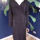TALBOTS Black Wool Blend 3/4 Sleeve Peplum Sheath Dress L