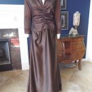 TADASHI Brown Taffeta/Satin Ruched 3/4 Sleeve Evening Gown Dress 12