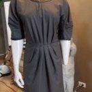 POLECI  Gray/Black Color Block 100% Leather Trim Sheath Dress 8