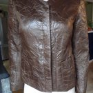Lafayette 148 New York Brown Crinkle Faux Leather 3/4 Sleeve Blazer 6