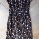 TALBOTS Brown/Black Floral Print Cap Sleeve Cotton Blend Sheath Dress 10
