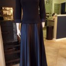 TADASHI Navy Satin Skirt 3/4 Sleeve Long Evening Gown Dress 12P
