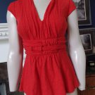 Anthropologie ETTTWA Red Empire Waist Sleeveless Stretch Jersey Top Shirt S