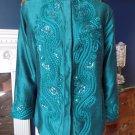 CHICO'S Green Sequins Ribbon Detail Long Sleeve Jacket Blazer 2