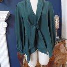 BCBG MAX AZRIA Kelleigh Elm Tie Front Silk Long Sleeve Blouse Top Shirt S