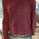 NWT JESSICA SMIMPSON Red Black Lace Trim Luna Top Shirt Blouse XS