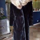 Vintage BORGAZIA Brody Black Faux Fur Real Fox Fur Collar Long Jacket Coat M/L