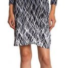 BCBG MAX AZRIA Wrap Dress V neck Jersey ADELE Print Black/Gray L