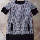 BANANA REPUBLIC Black/White Short Sleeve Tweed Shift Dress 6