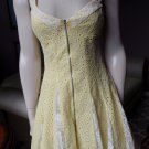 BETSEY JOHNSON Yellow/White  Zip Front Eyelet Lace Fit & Flare Sheath Dress 4
