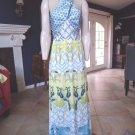NWT TOOTANG STYLEWE 100% Silk Bird Print Maxi Halter Dress M