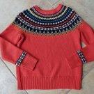 J CREW Orange Printed 100% Wool blend Crew-neck Sweater S