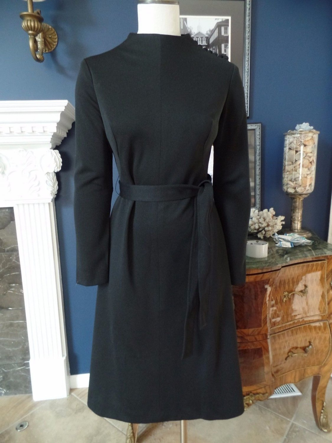 NWT PAUL VINTAGE 60's/70's Black Polyester Belted Long Sleeve Sheath  Dress 12