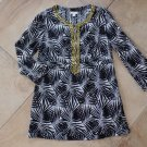 CHARTER CLUB Black/White Printed Beaded  Tunic Top Shirt Blouse 10