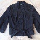 ARMANI EXCHANGE Black Belted 3/4 Sleeve Cotton Twill Blazer Jacket S