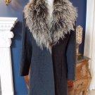 Mackintosh New England Grey Waffle Texture Mongolian Lamb Fur Collar Coat 12