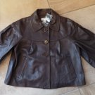 NWOT ANN TAYLOR LOFT Brown 100% Leather Cropped 3/4 Sleeve Blazer Jacket S