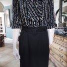TRINA TURK Black 3/4 Sleeve Chain Print Belted Sheath Dress 10
