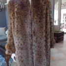 INTRIGUE Vintage Faux Fur Brown Animal Print Jacket Coat 7/8