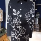 NEVE Floral 100% Wool 3/4 Length  Button Front Cardigan Sweater L