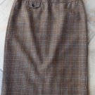 J CREW Brown Plaid 100% wool Straight The No 2 Pencil  Skirt 4