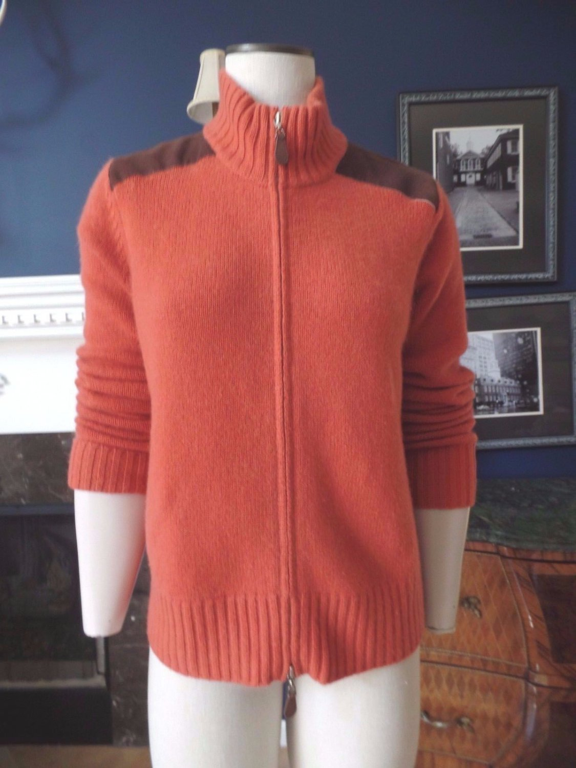 KINROSS Zip Front 100% Cashmere Cardigan Sweater L