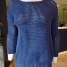 J CREW Blue 100% Cotton Loose Knit 3/4 Sleeve Sweater S