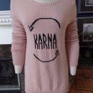 BCBG MAXAZRIA Shadow Blush Intarsis Karma Long Sleeve Sweater M