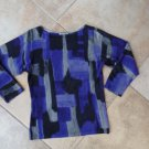 ANNE KLEIN 100% CASHMERE Blue/Black/Gray Printed Long Sleeve Sweater SP