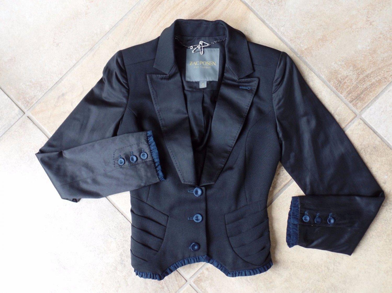 ZAC POSEN For Target Black Satin Trim Tuxedo Jacket Blazer XS