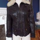 Banana Republic 100% Leather Shearing Lamb Collar Bomber Jacket Coat XS