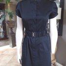 CALVIN KLEIN Black Button Front Belted Short Sleeve Shirt Sheath Dress 4